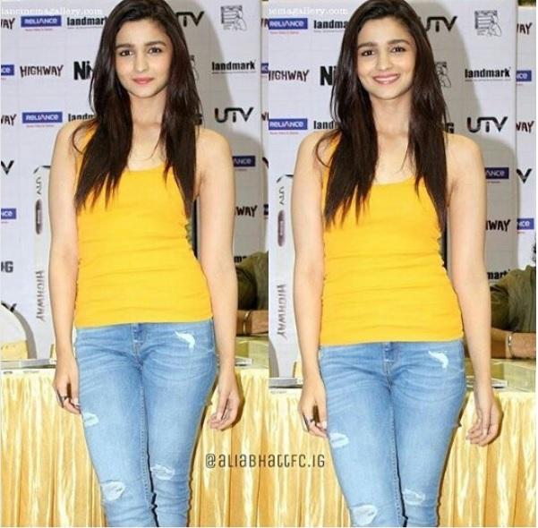ali bhatt denim jeans yellow tshirts available online