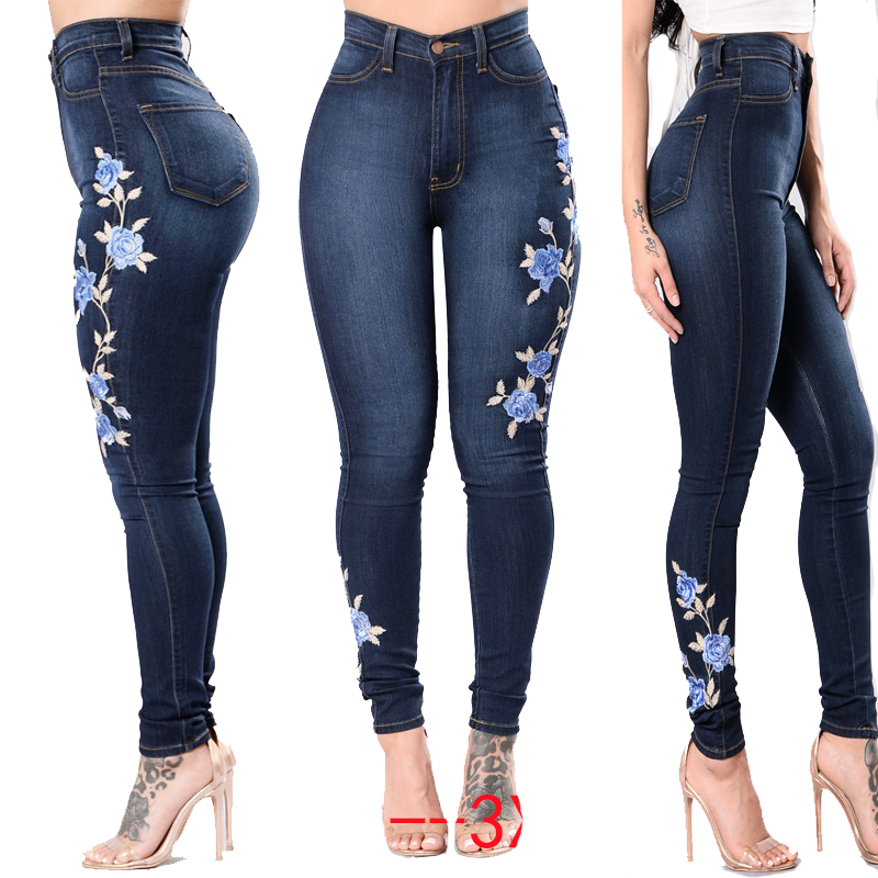 embroidery blue denim jeans