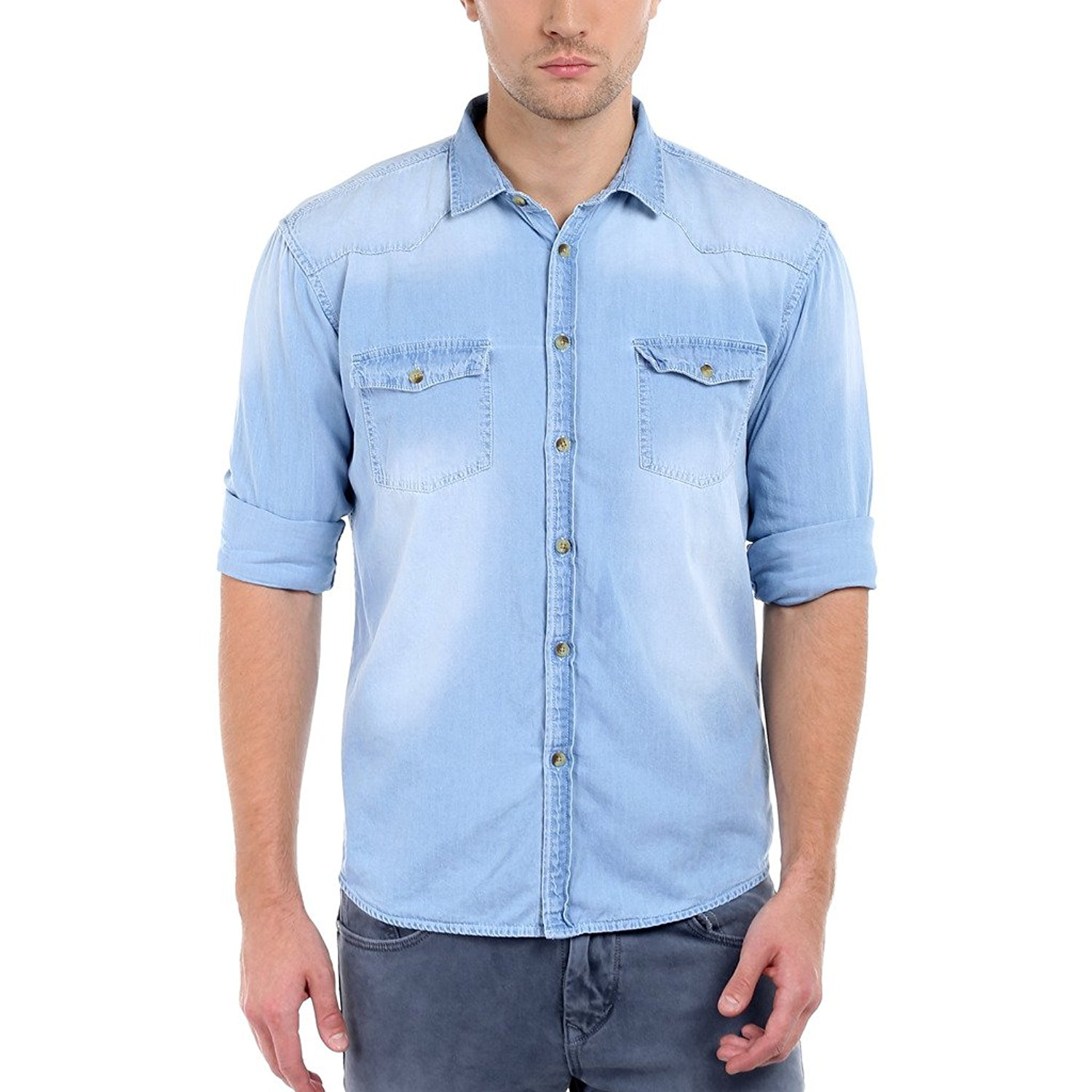 Long Sleeve Denim Shirts For Men | Light blue jeans Denim Shirts for men