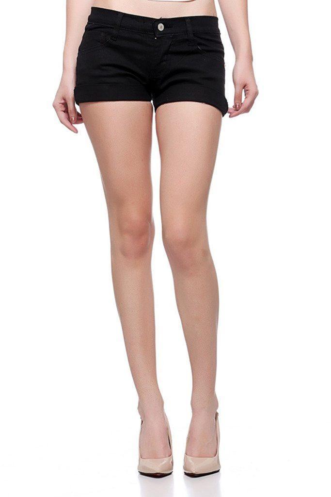 Black Denim shorts for women