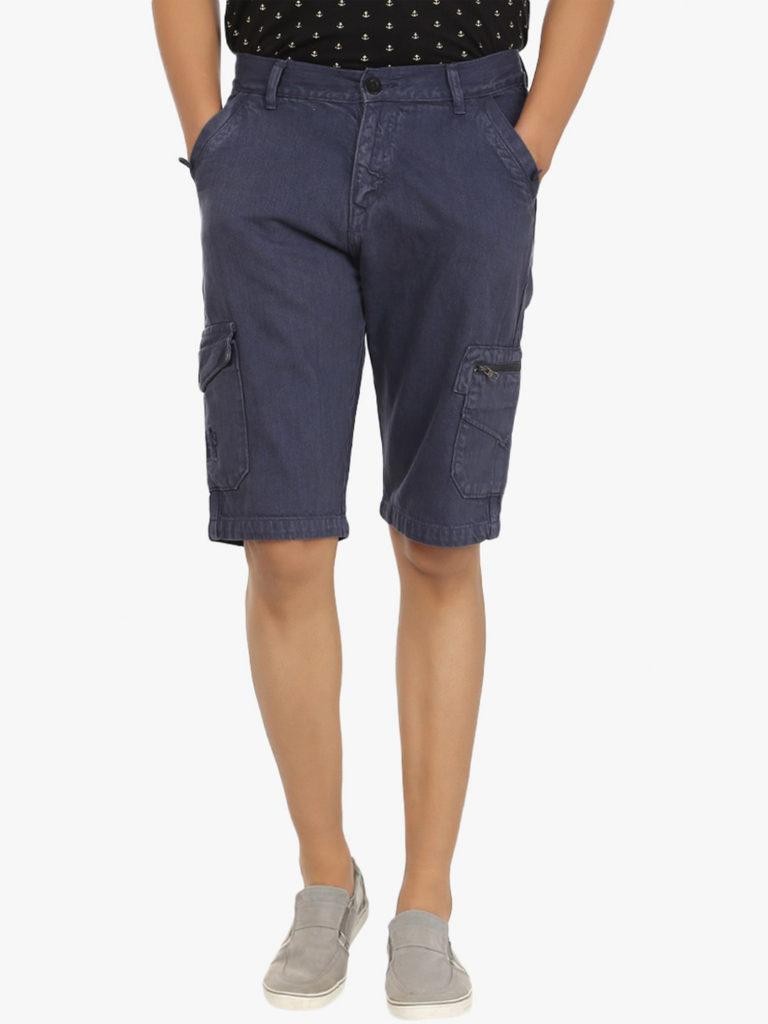 cotton denim traveler shorts for men online