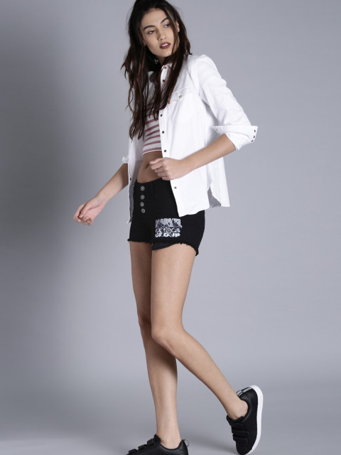Regular fit black denim shorts