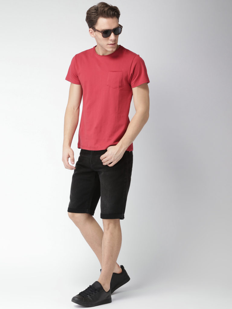 black denim shorts for men regular fit