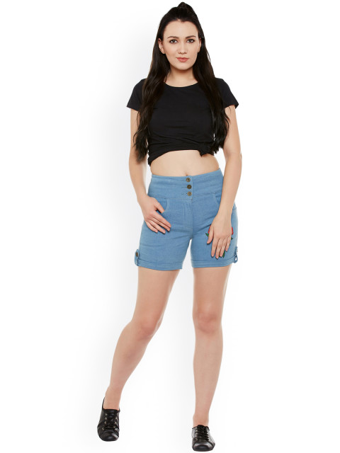 denim shorts embroidery