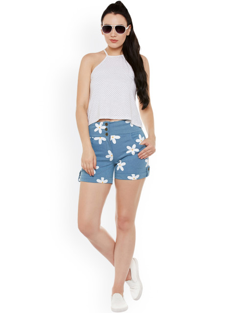 printed women denim shorts