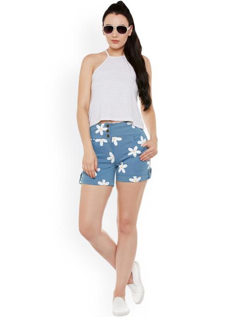 printed women denim shorts