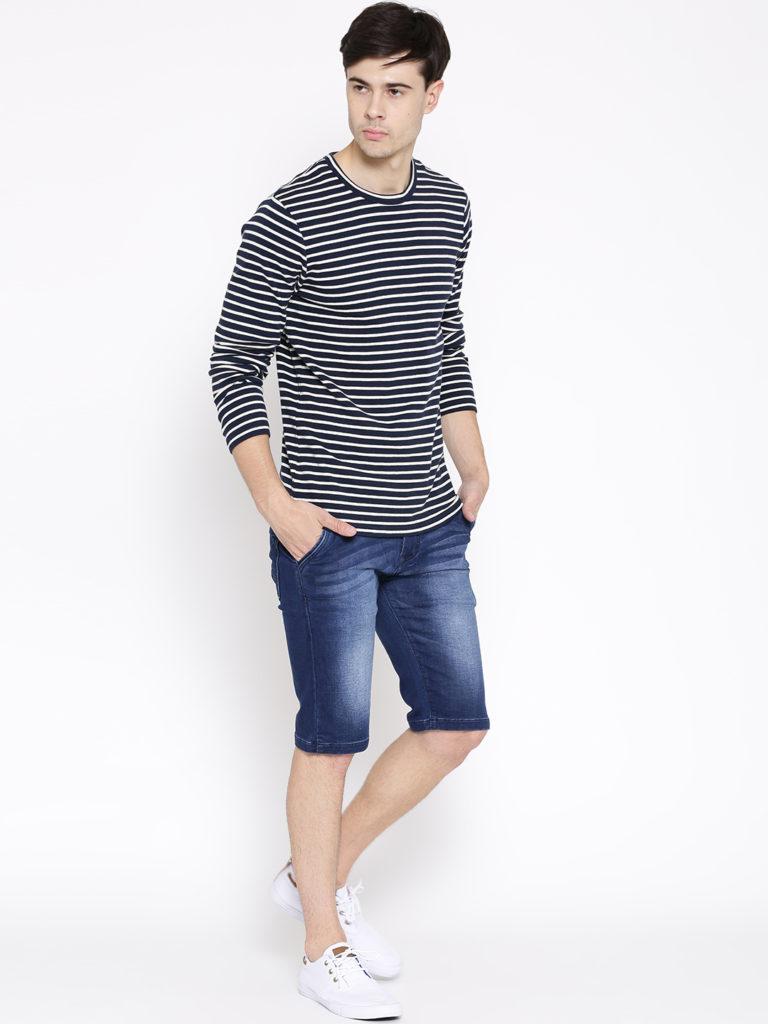 regular fit denim shorts for men