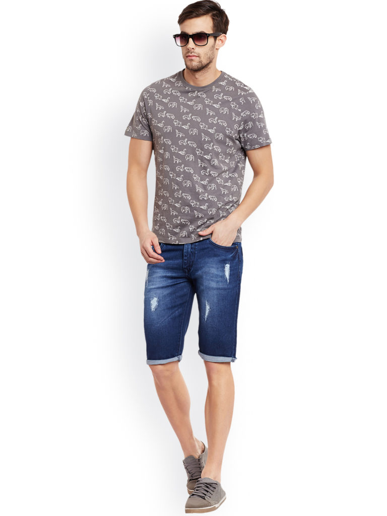 regular fit denim blue shorts for men