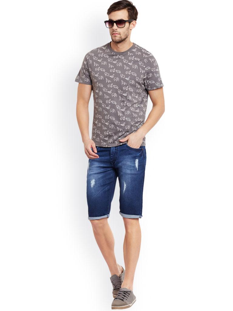 regular fit denim blue shorts for men