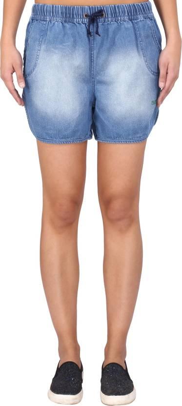 Blue washable denim shorts