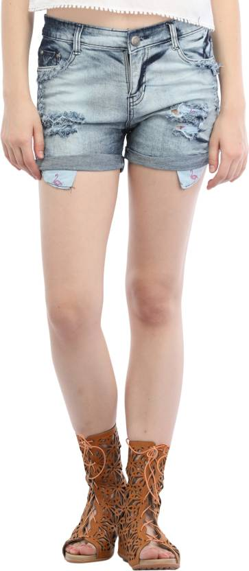 pre ripped folded bottom denim jean shorts