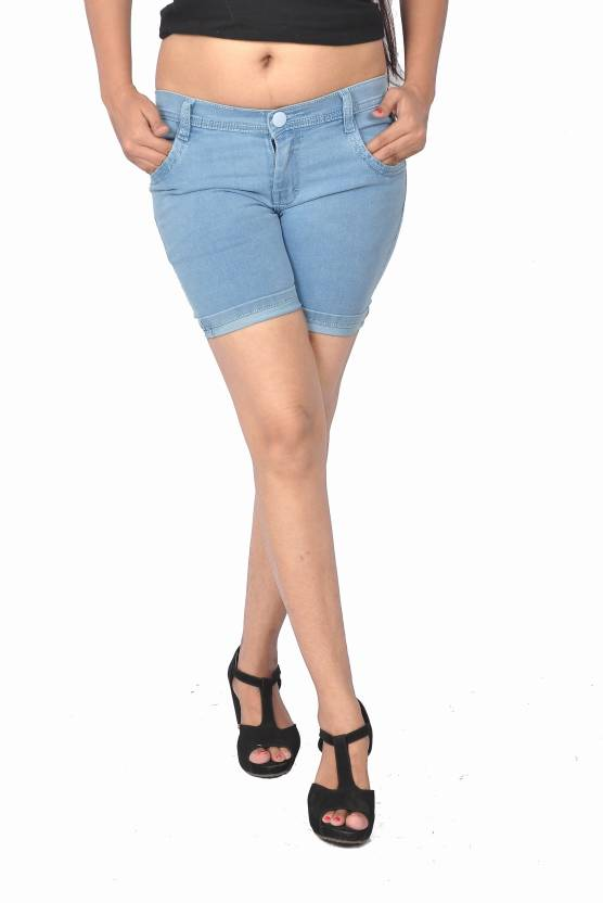 shorts for women blue color