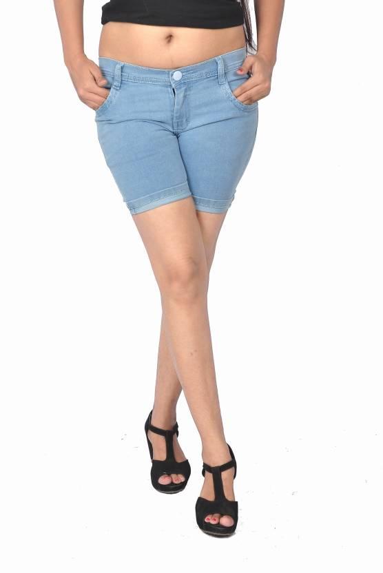 shorts for women blue color
