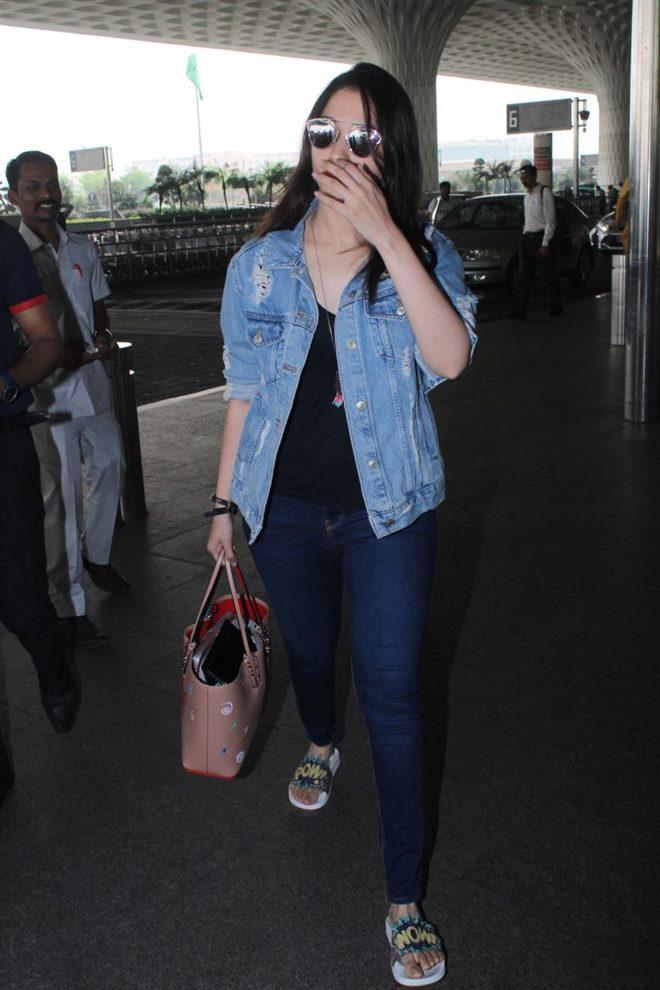 tamannaah bhatia denim jacket spotted airport